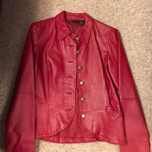 Newport News shape Fx red fitted leather jacket 8